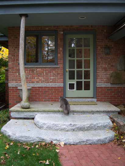 Granite Steps, wide enough for two plus a cat. Photo from Freshwater Stone, Orland, ME.