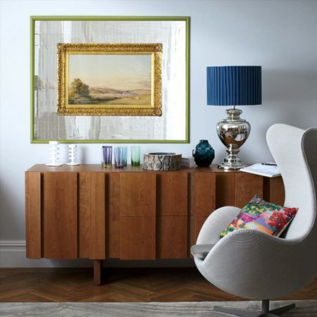 Traditional Painting and Modern Credenza