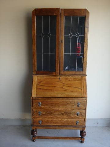 Vintage Secretary with Leaded Glass Doors